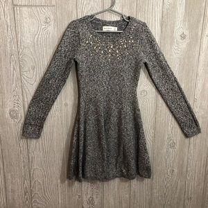 Abercrombie Kids Girls Gray Jeweled Sweater Dress